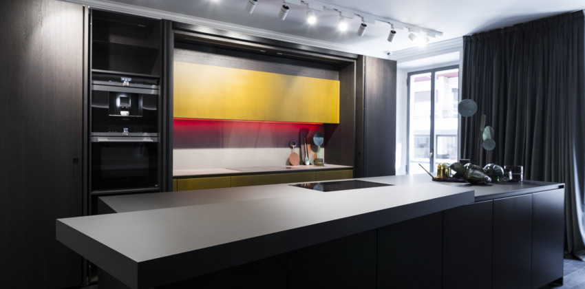 Milan Design Week 2018 | kitchen countertop made of FENIX NTM Grigio Bromo.