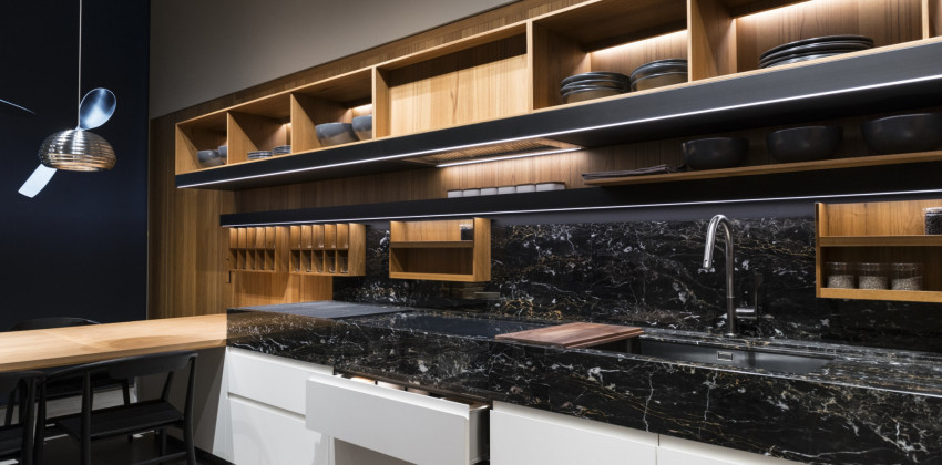 Milan Design Week 2018 | Kitchen in marquinia and wood, FENIX NTM Nero Ingo and Bianco Kos.
