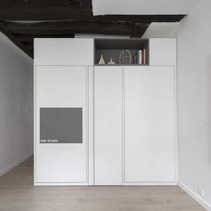 FENIX NTM Grigio Londra, Bianco Malé for a complete multifunctional space in 16m2 - EDB Studio. Photo Credit Marco Dapino.