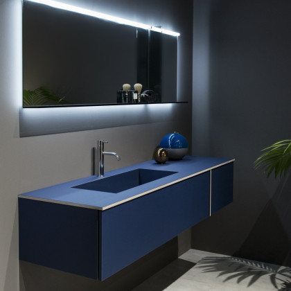 Milan Design Week 2018 | bathroom furniture in FENIX NTM Blu Fes.