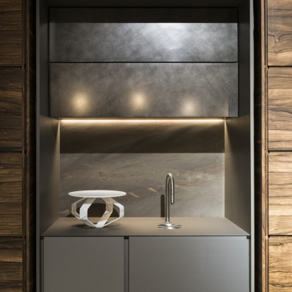 Milan Design Week 2018 | multifunctional kitchen solution in FENIX NTA Acciaio Hamilton.