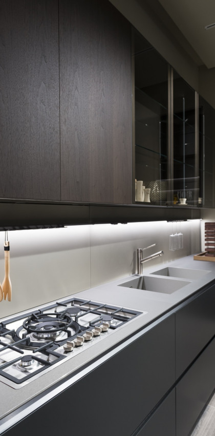 Milan Design Week 2018 | kitchen top and cabinets in FENIX NTA Acciaio Hamilton.