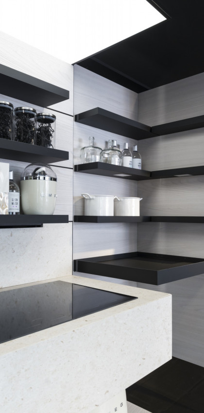 Milan Design Week 2018 | kitchen shelves in FENIX NTM Nero Ingo.