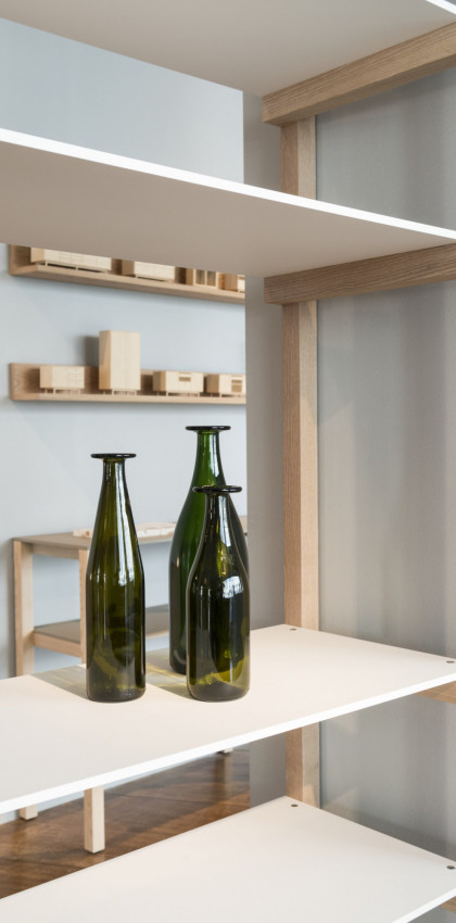 Milan Design Week 2018 | kitchen shelves in FENIX NTM Bianco Malé. Jasper Morrison for Schiffini.