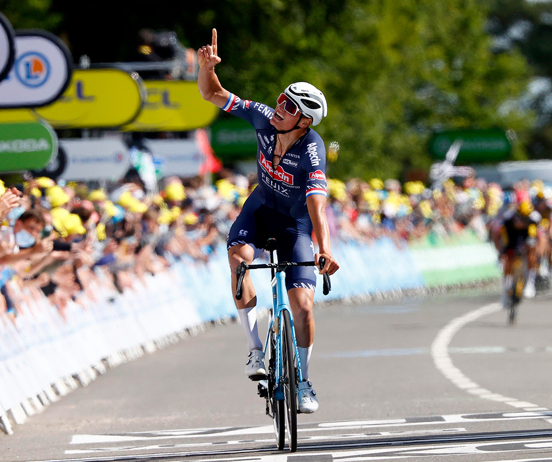 Mathieu van der Poel wins Stage 2 of Tour de France and takes the yellow jersey